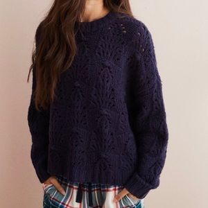 Aerie | Navy Blue Pointelle Knit Sweater